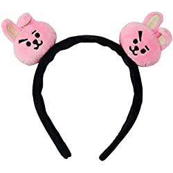 BT21 Portable Mini Elastic Hair Band Cartoon Headband Bangtan Boys Fans Hair Band Plush Hair Accessories Unisex - pink