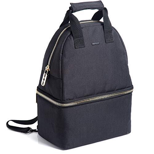 Putwo borsa termica 14l zaino termica ermetico doppio borsa pranzo 2 scompartimenti con tracolla regolabile borsa frigo per adulti bambini uomo donna per lavoro scuola picnic - nero