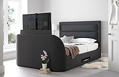 Happy Beds Hollywood TV Bed Gabon Grey Fabric Frame Television Modern Furniture - low-cost UK light shop.