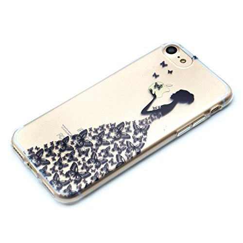 iPhone 7 Hülle,iPhone 7 Silikon Case,iPhone 7 Cover - Felfy Ultradünne Weicher Gel Flexible Soft TPU Silikon Transparent Hülle Schutzhülle Hülle Color Muster Farbmalerei Beschützer Hülle Handy Durchsi Schmetterlings-Mädchen
