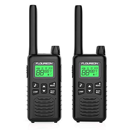 FLOUREON 2X PMR Funkgeräte Set 16 Kanäle Walkie Talkies 2-Wege Radio Walki Talki Funkhandy Interphone mit LC-Display 5KM, Schwarz (Günstige 2-wege-radios)