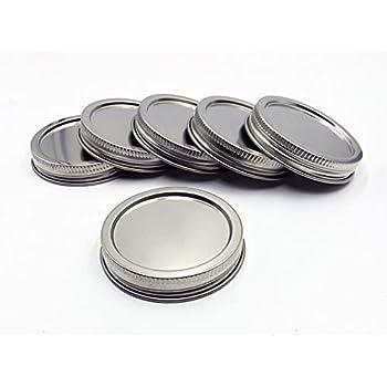 8 St/ück 304 Edelstahl Regular Mouth Mason Jar Deckel Storage Caps rostfrei und auslaufsicher kompatibel mit Ball /& Kerr Mason Jars silber
