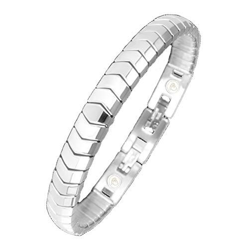 Flexibles Energetix 4you Magnetarmband 439 Cu + Kupfer silber matt und poliert Flex Magnetix Energiearmband Breite 8mm Gr. S-XL + Schmuckpouch