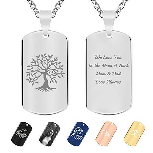 ABIsedrin Personalisierte Halskette, Edelstahl Benutzerdefinierte Halskette Foto-Halskette,Paar Schlüsselbund Mit Geschenkbox Silber/Rosegold/Gold mit Gravur -