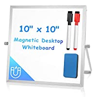 Arcobis Magnetic Small Dry Erase White Board Double Sided Personal Desktop Tabletop Dry Erase Board Easel Board with Stand for Kids Home Office