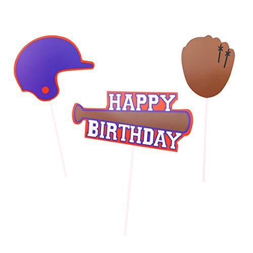 BESTOYARD Kuchen Cupcake Baseball Serie Zahnstocher Topper Frische Kuchen Dekorationen für Party Dessert 4 Pack
