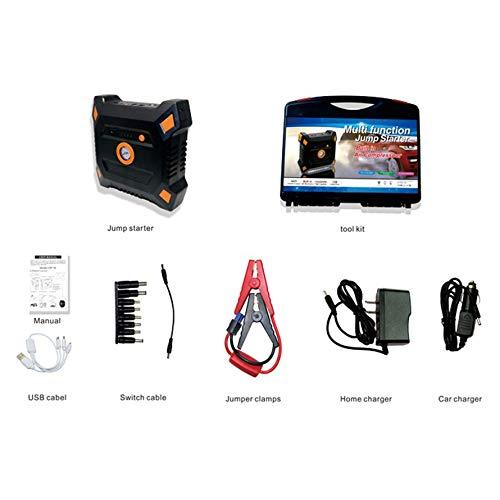 Huihuiya Tragbarer Auto-Sprungs-Starter 12V 82800mAh mit eingebautem Luftkompressor USB-Ausgang