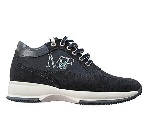 Mercante di Fiori Scarpe Sneakers Camoscio Tessuto Strass Blu Donna Taglia 39