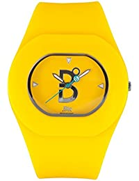 B360 watch Unisex-reloj de pared de tamaño mediano, 3 barras analógico de cuarzo silicona B cool - Amarillo
