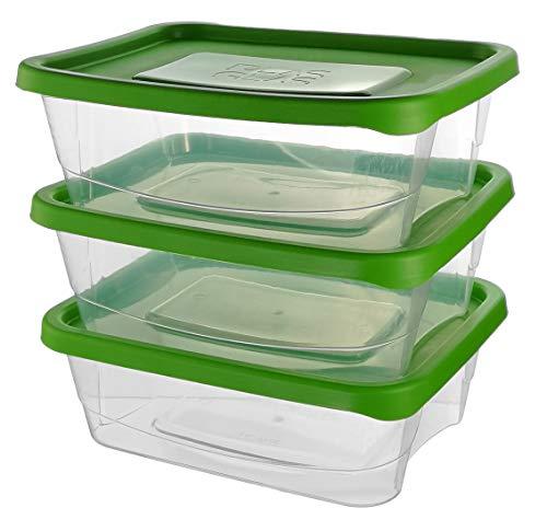 Premium Frischhaltedosen   Storage Container   Vorratsdosen   BPA frei & spülmaschinengeeignet   Mikrowellen-geeignet und Gefrierschrank-geeignet   Luftdicht   Aufbewahrungsdose (3er Pack - 2,3 L)