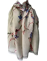 Purple Possum Scarf Beige Dark Cream Cherry Blossom Tree Print Ladies Wrap Pink Blue Floral Shawl