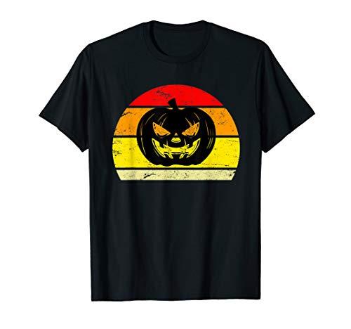 Gruseliges Halloween Kürbis Sonnenuntergang Silhouette T-Shirt (Kürbis Silhouetten Halloween)