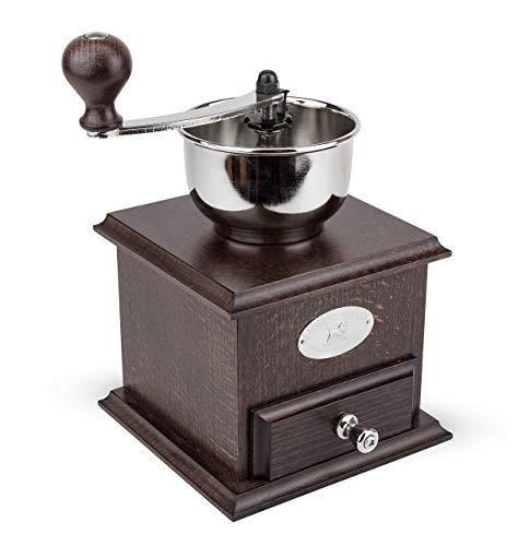 Peugeot Kaffeemühle Brésil inkl. Mahlgradeinstellungs-Funktion, manuelle Espressomühle im schicken Retro-Design, Kaffee Mühle mit 25 Jahren Funktionsgarantie, schokofarben, Holz, 21 cm -