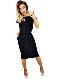 Yusealia Vestito Donna Elegante Abito Lungo Donna Eleganti da Cerimonia  Maxi Vestito Tinta Unita,Cravatta d8e3bd0ab84