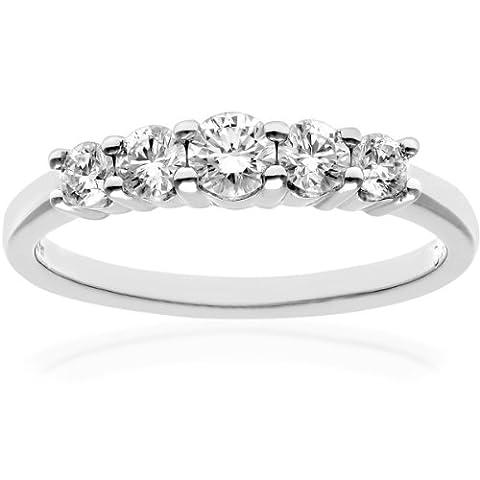 Naava Women's Platinum 5 stone Eternity Ring, IJ/I Certified Diamonds,