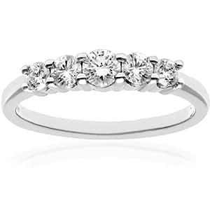 Naava Women's 18 ct White Gold 5 stone Eternity Ring, IJ/I Certified Diamonds, Round Brilliant, 0.50ct, White Gold, J
