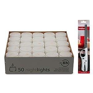 DecoLite Nightlights im Acrylcup – ca. 7-8 Stunden Brenndauer & Kerzenprofi Stabfeuerzeug …