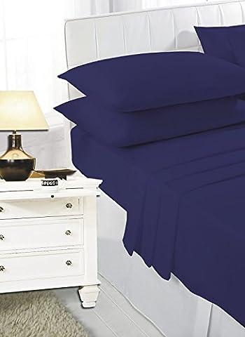 Luxury PollyCotton Plain Flat Sheet (Super King, Navy Blue)