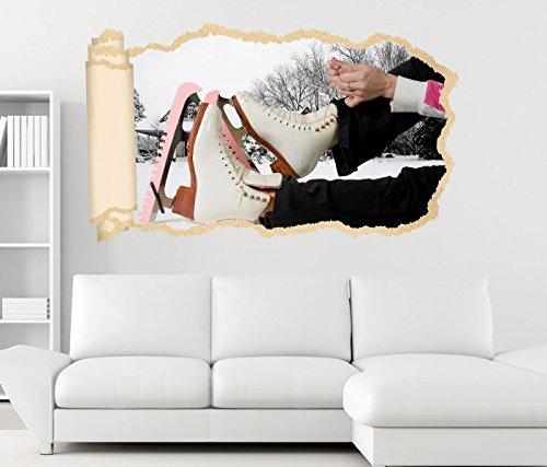 3D Wandtattoo Eislauf Eiskunst Sport Schuhe Tapete Wand Aufkleber Wanddurchbruch Deko Wandbild Wandsticker 11N1142, Wandbild Größe F:ca. 140cmx82cm