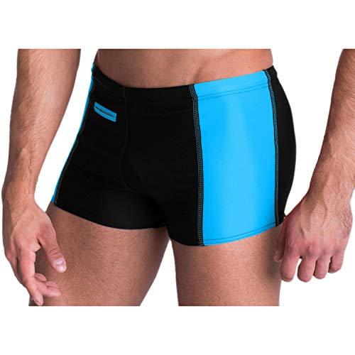 Aquarti Herren Badehose mit Reißverschlusstasche Badeshorts, Farbe: Schwarz/Blau, Größe: M (Taille ca. 84 cm)