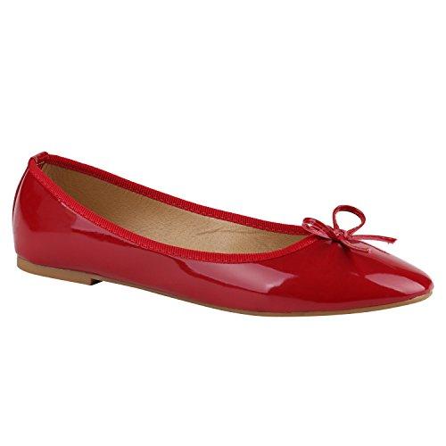 Klassische Damen Ballerinas Flats Lederoptik Lack Metallic Schuhe