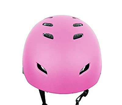 LA Sports Kids / Childs / Childrens PINK Girls Pro Skate Helmet Ideal For Skateboard, BMX Bikes and Stunt Scooter Age Guide 7 - 14 years from HI Mark