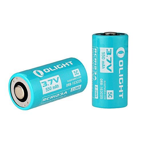 Galleria fotografica Olight 2pz 16340RCR123A batteria ricaricabile 550mAh 3.7V Li-ion batterie design per Olight S1R Baton torcia (confezione da 2)