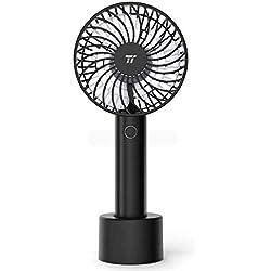 Mini Ventilateur de Poche TaoTronics, Ventilateur à Main Silencieux & Portable, USB Rechargeable 2000mAh avec 4 Vitesse et Fonction Mémoire pour la Maison, le Bureau & les Voyages