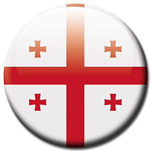 Georgien Flagge Land (Magnet Georgien - Länder Magnet Flagge Georgien Ø 5 cm - Kühlschrankmagnet mit Flaggenmotiv Georgien - Länderfahne Magnet Georgia für Magnettafel Pinnwand Magnetpinnwand Memoboard Whiteboard - Original Magnete GUMA Magneticum)