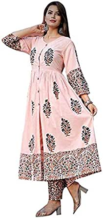 Marlin Cotton salwar suit for women readymade Kurti and pant set for women latest design Kurti with plazo set for women Kurti plazzo set in PEACH colour for women kURTI (Small)