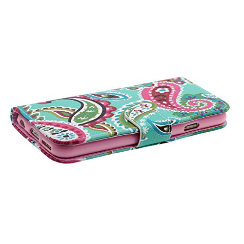 "Rabat Portefeuille Carte Titulaire iPhone 6 Coque, Mignon Tortue Motif, multi Function PU Cuir iPhone 6S 4.7"" Housse Etui Protection Vert"