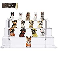 CECOLIC Transparent Acrylic Display Stand,Large Riser Shelf 4-Step,for Funko Figures,Cupcake,Lipstick,Nail polish,Condiment,12x6.3in