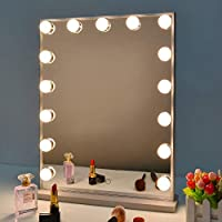 BEAUTME Hollywood Vanity Mirror with Lights, Dimmable Tabletop/Wall Cosmetic Lighted Makeup Beauty Mirror