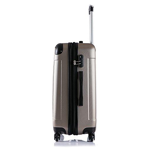 WOLTU RK4205ch Reise Koffer Trolley Hartschale mit erweiterbare Volumen , Reisekoffer Hartschalenkoffer 4 Rollen , M / L / XL / Set , leicht und günstig , Champagne (M, 56 cm & 42 Liter) - 4