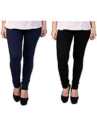 Trendway Women's Cotton Lycra Stretchable Churidar Leggings Combo (Pack Of 2): Navy Blue & Black - Free Size