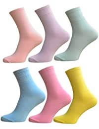 6 Pair Pack Of New Anti Bacterial Fresh Feel Unisex Cotton Lycra Socks Fashion Colours Size 4-6