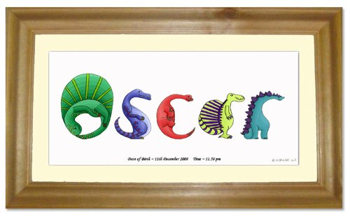 Dinosaur cornice, stampa nome personalizzato Baby Gift immagine - Stampa Baby Names