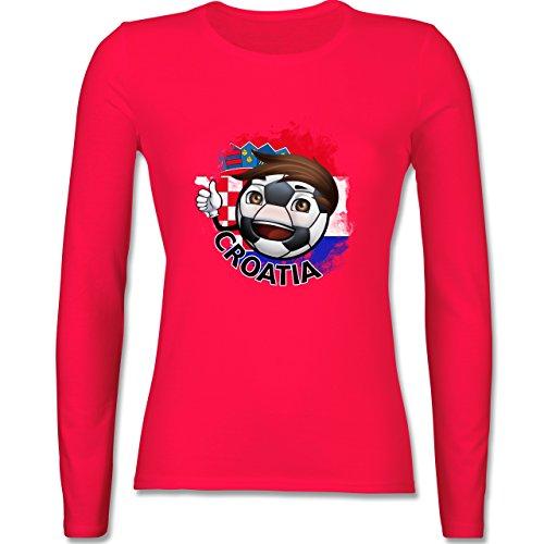 EM 2016 - Frankreich - Fußballjunge Kroatien - tailliertes Longsleeve / langärmeliges T-Shirt für Damen Rot