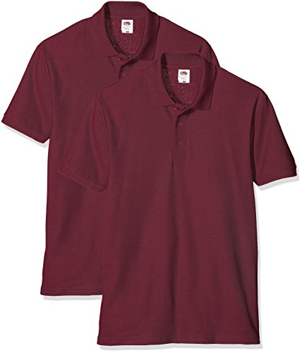 Fruit of the Loom Herren T-Shirt 2er Pack Rot (Burgundy)