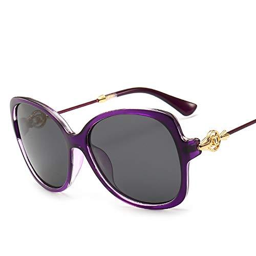 Yangjing-hl Die Big-Box-Sonnenbrille der Metallbrille-schwarzen Katzenaugenfrauen die den purpurroten Rahmen des Spiegels Purpurrot fährt