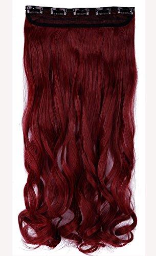 Rosa Mischen Rot Clip in Hair Extensions Haarverlaengerung Halb Vollen Kopf Peruecke ca.61cm Gelockt Gewellt Haarverdichtung (Haar Verlängerung Rot)