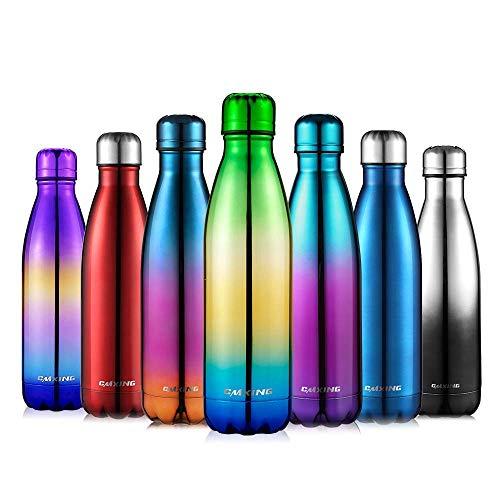 CMXING Doppelwandige Thermosflasche 500 mL / 750 mL mit Tasche BPA-Frei Edelstahl Trinkflasche Vakuum Isolierflasche (Grun+blau, 500 mL)