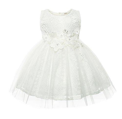 Cielarko Baby Mädchen Kleid Kleinkind Blumen Spitze Taufkleid Festlich Hochzeits Kleidung (Weiße 16 Größe Blumen-mädchen-kleider)