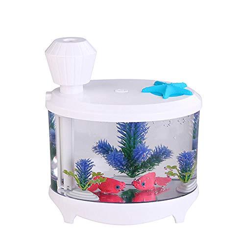 Wxlyy Home Car USB Purificador de Aire Humidificador ultrasónico Mini Tanque de Peces Difusor de Aroma de Aceite Esencial@Blanco