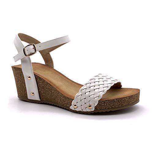 Angkorly - Damen Schuhe Sandalen Mule - Plateauschuhe - praktisch handlich - Bequeme - Geflochten - Nieten-Besetzt - Kork Keilabsatz high Heel 6 cm - Weiß FD-42 T 41 Mule Sandale