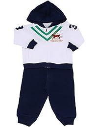 6947R tuta bimbo RALPH LAUREN cotone bianco/blu felpa pantalone suit kid