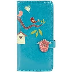 Shagwear - Monederos para mujeres jóvenes: Varios colores y diseños: (pajarera turquesa / birdhouse teal)