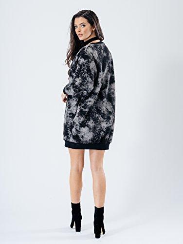 Ladies Oversize Long Pull Sweatshirt Tunique Robe EUR Taille 36-42 Noir cravate teinture