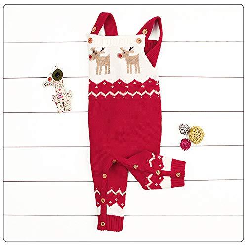 Weihnachts Party Kostüm Kleinkind-Baby-Strickjacke-Spielanzug strickte Weihnachtsrotwild-Schulter-Bügel-BaumwollSweatshirt für 6-24 Monate Säuglingskinderoveralls Oberbekleidung Kostüm Weihnachten Nik