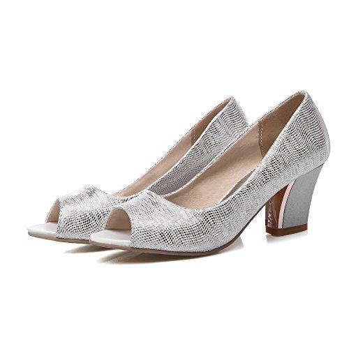VogueZone009 Damen Rein Pu Leder Mittler Absatz Fischkopf Schuhe Ziehen Auf Sandalen Silber